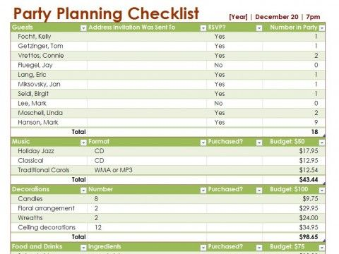 Party Planning List Template  NinjaTurtletechrepairsCo