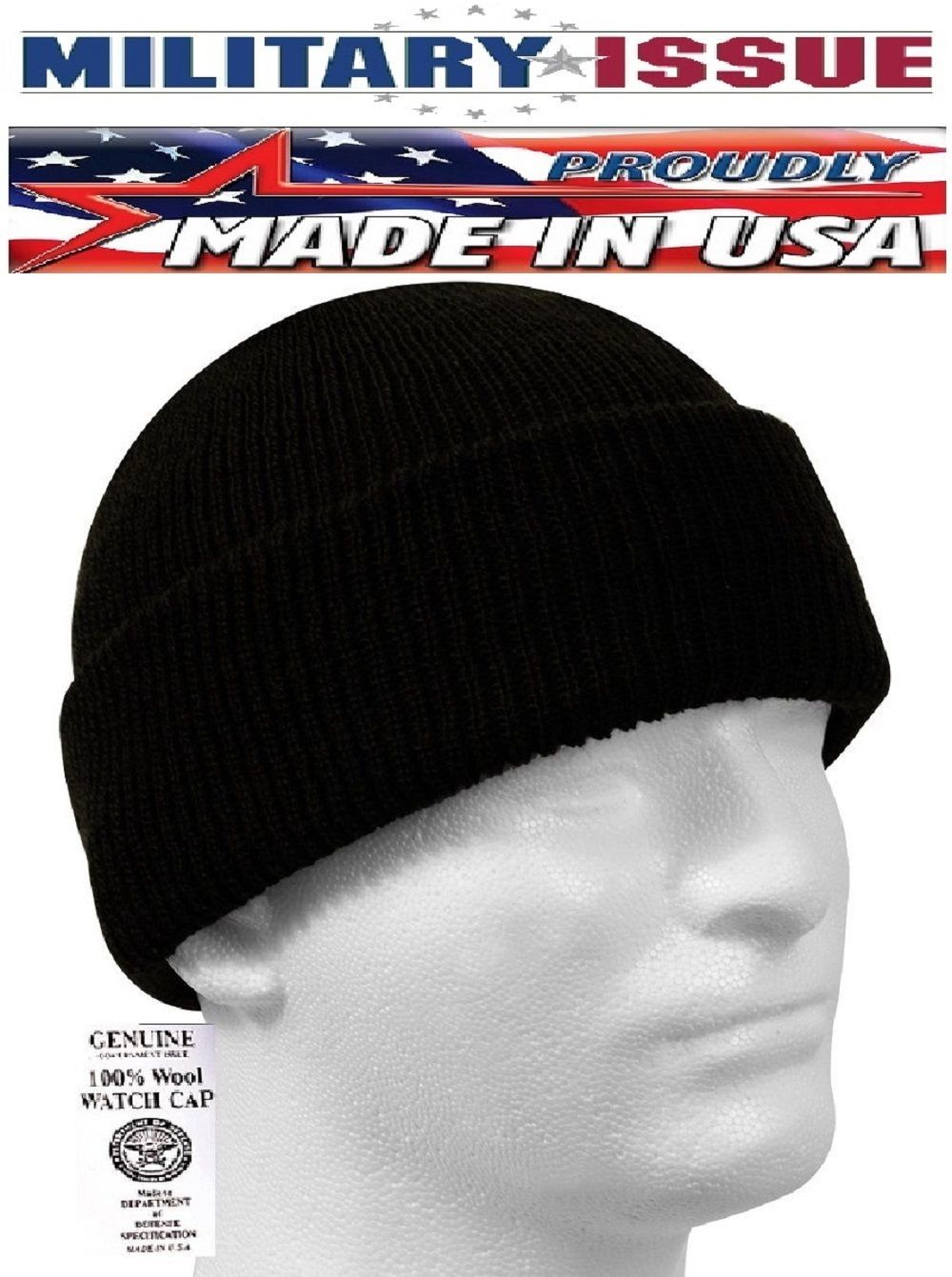 d264c6dd5aa Black Military Issue Watch Cap 100% Wool Skiing Beanie Hat Wool Watch Cap  8492