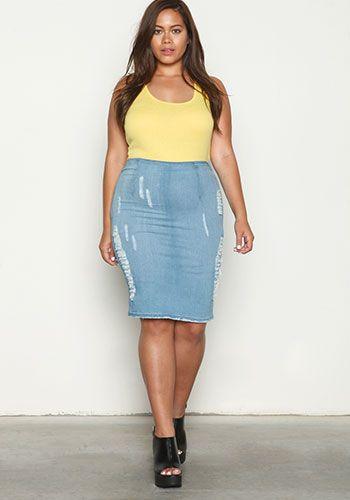 Plus Size Light Distressed Denim Skirt | FAT Girl Fashion ...
