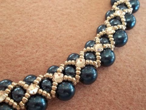 Beading4perfectionists : 8mm Swarovski 2 rows necklace beginners tutorial (video version) - YouTube