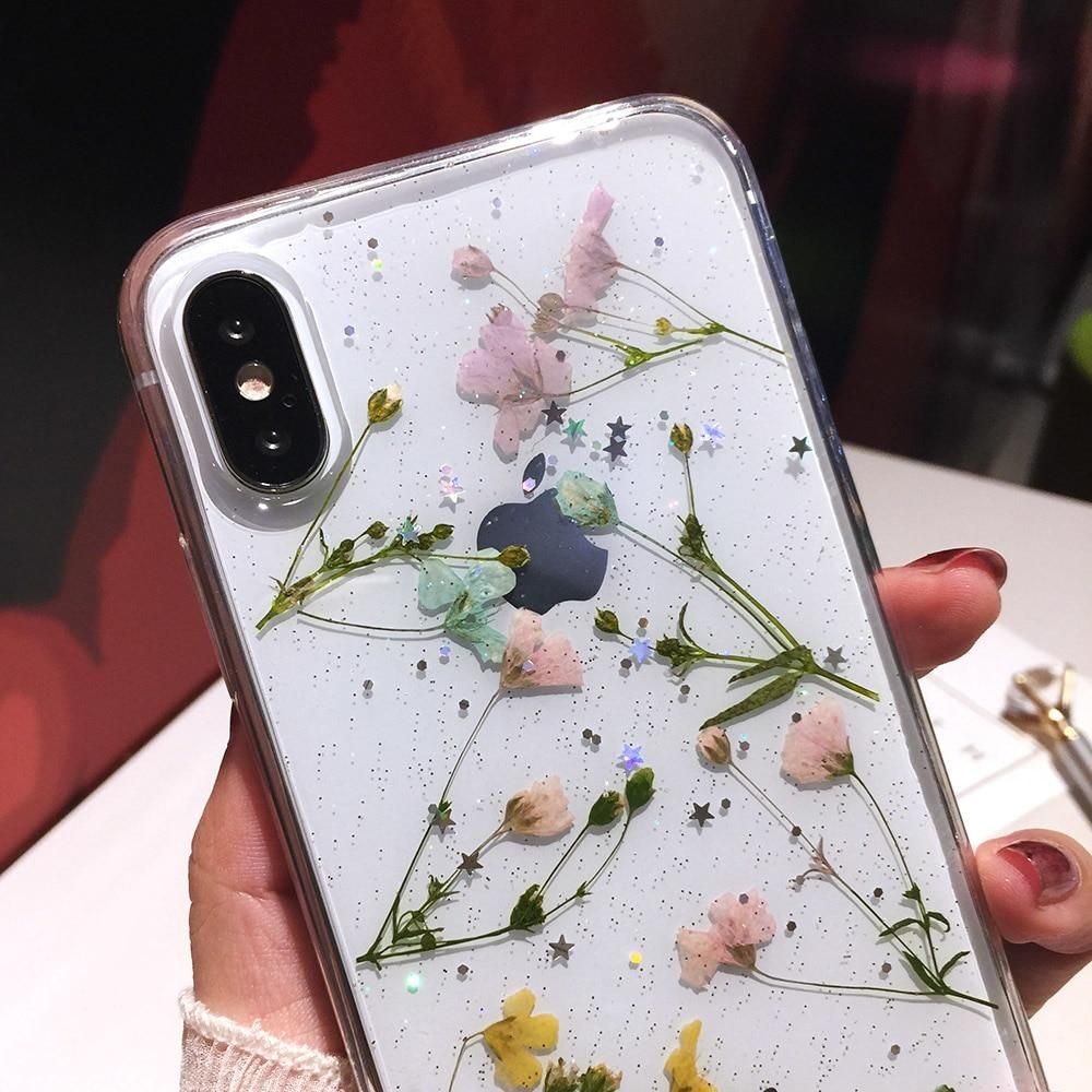 Real Dried Flower Cases for iPhone X XS Max XR 6 6S 7 8 Plus Case Handmade Clear Soft Fresh Flower Phone Back Cover,3,for iPhone 8