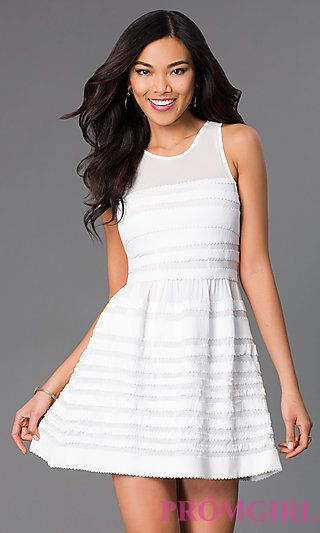 Short Sleeveless White Dress by Wow Couture at PromGirl.com