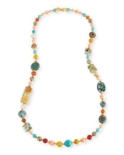 Jose & Maria Barrera Long Decoupage Necklace w/ Agate Beads eGsdnqBG