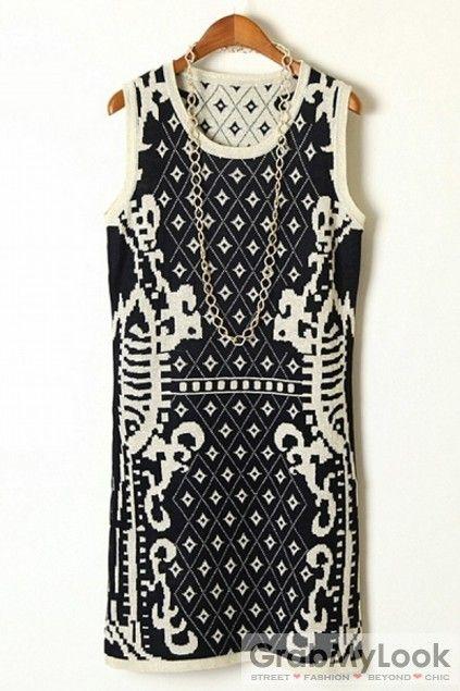 GrabMyLook  Retro Vintage Pattern Sleevesless Vest Skirt Dress