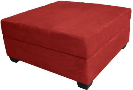 Amazon Com Epic Furnishings 36 Inch Large Square Storage Ottoman Bench Suede Cardinal Red Square Storage Ottoman Ottoman In Living Room