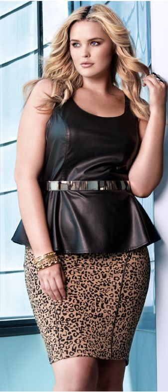 b0422f3f869 Plus Size Peplum Top   Leopard Print Pencil Skirt Dress   UNIQUE WOMENS FASHION