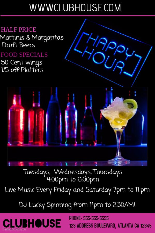 Neon Bar Flyer Template Happy Hour  Bar Flyers    Flyer