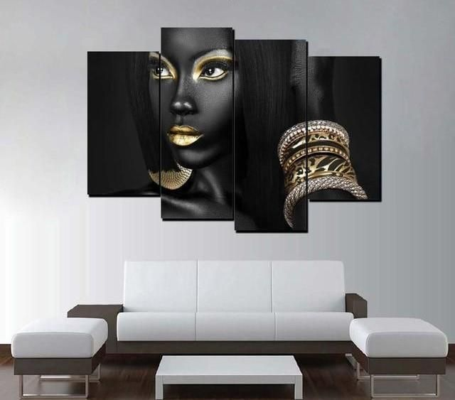 3 piece and 4 piece african american woman wall art canvas on wall paintings id=57087