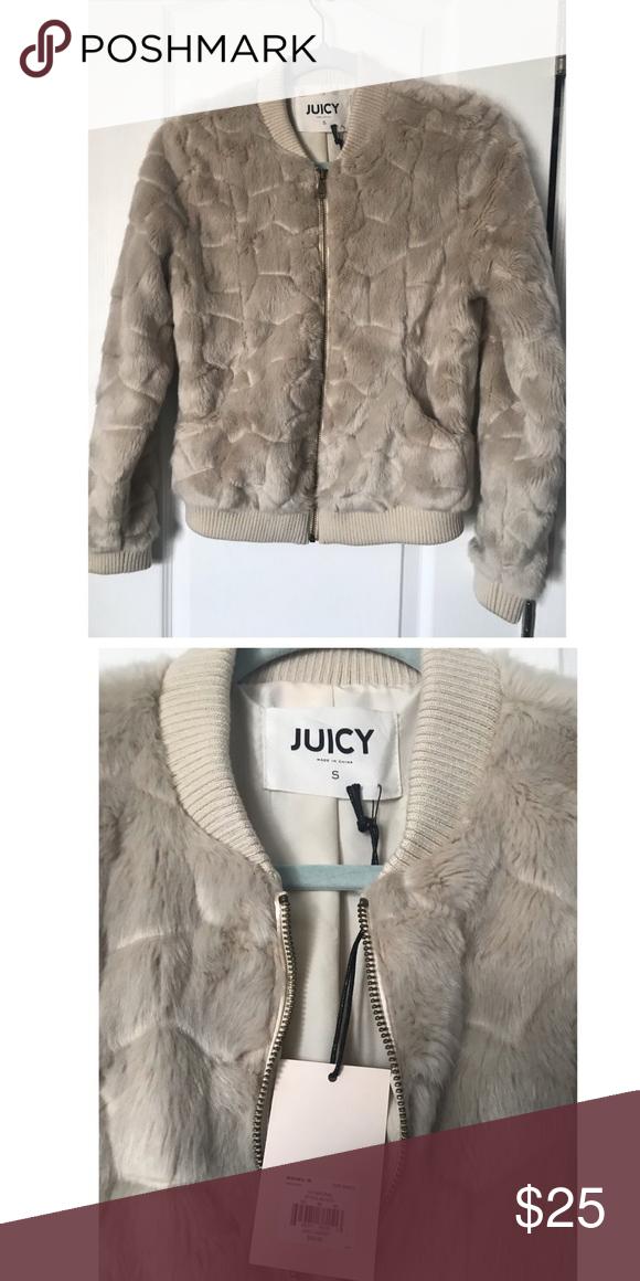 154ab3fff45b Juicy faux fur jacket Size:S NWT Beige faux fur Juicy jacket Size:S Juicy  Couture Jackets & Coats