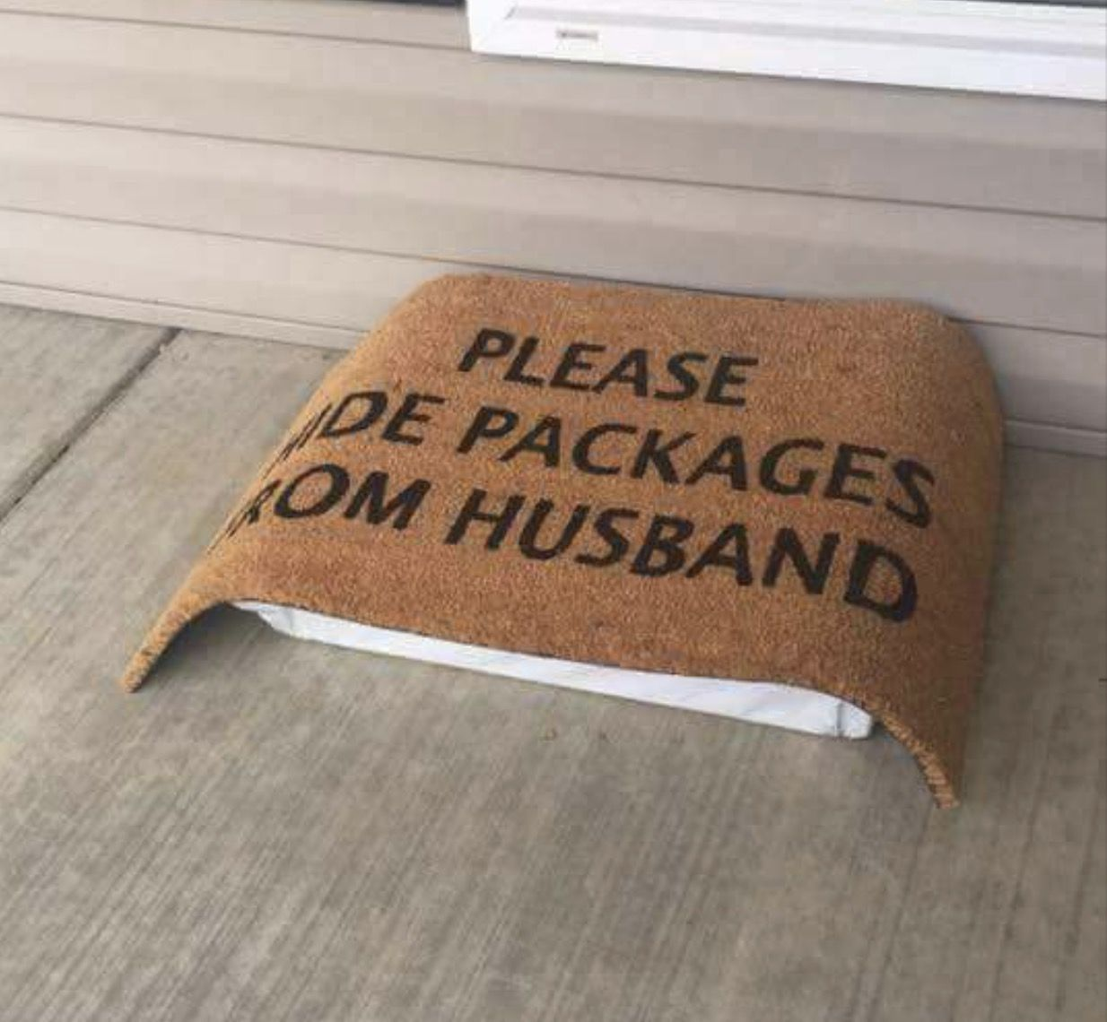 Image result for hide packages from husband doormat