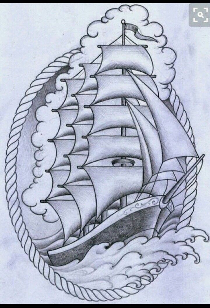 Traditional Ship Tattoo Pirate Outline