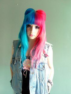 Half Pink And Half Blue Hair Google Search Hair Styles Split Dyed Hair Hair Inspiration Color