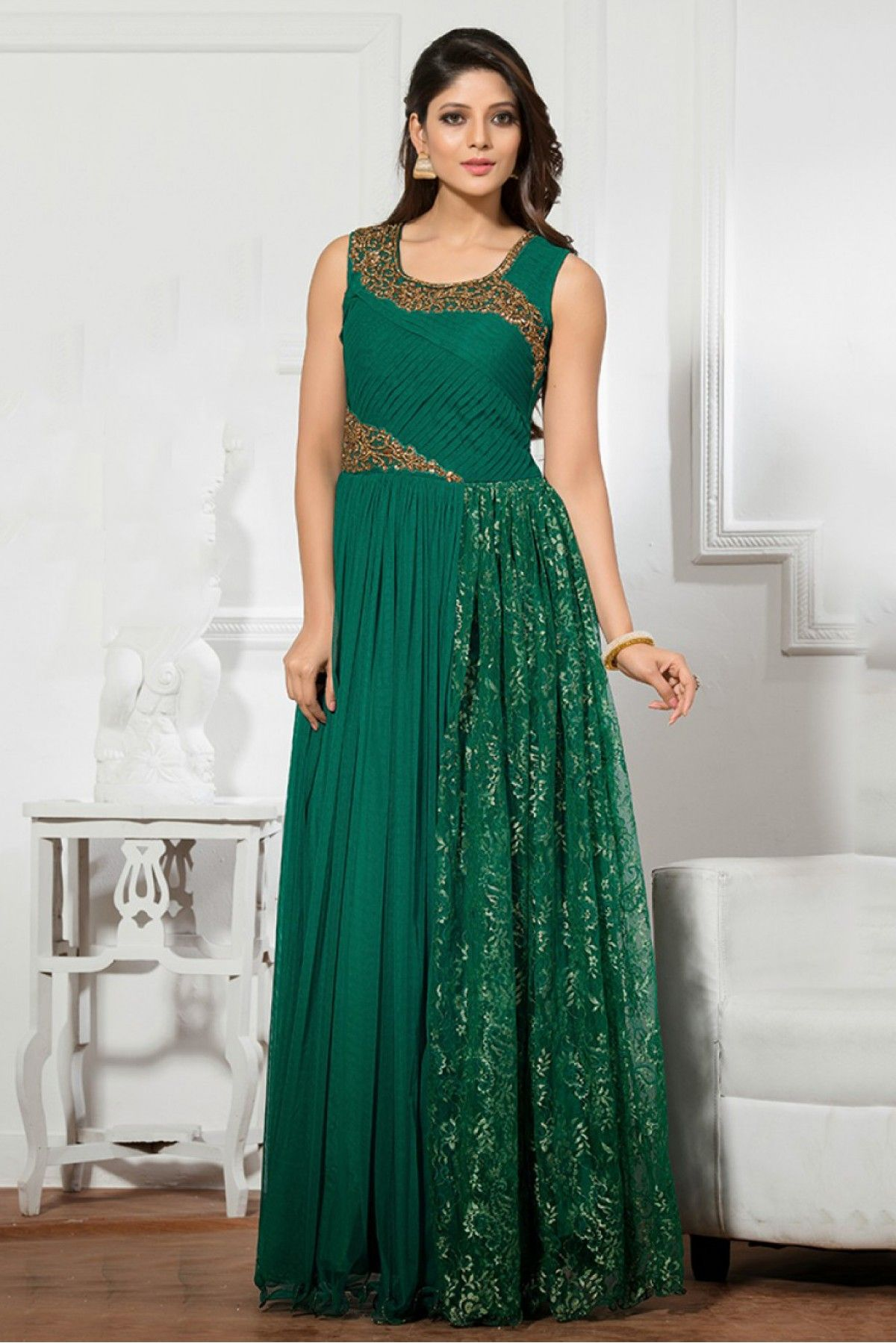 Net Semi Stitched Party Wear Gown In Green Colour