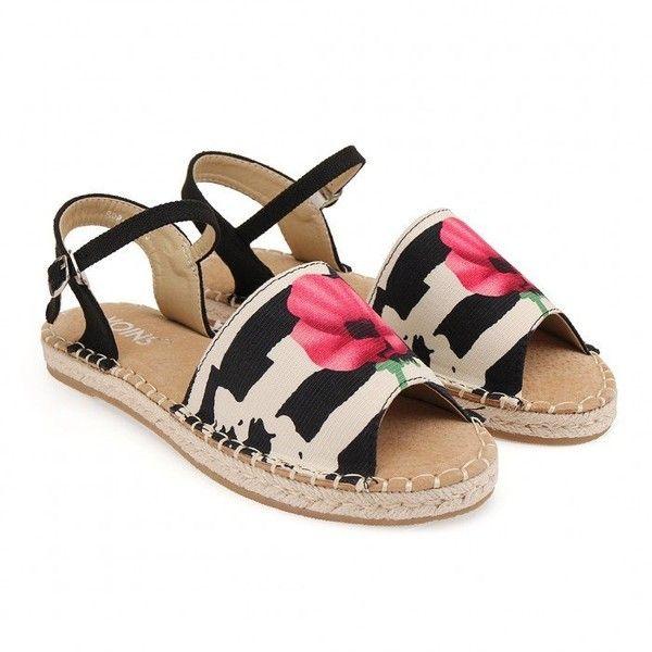 Yoins Peep Toe Espadrille Flats ($33) ❤ liked on Polyvore featuring shoes, flats, black, peep toe flats, floral flats, peep-toe flats, floral print flats and flat shoes