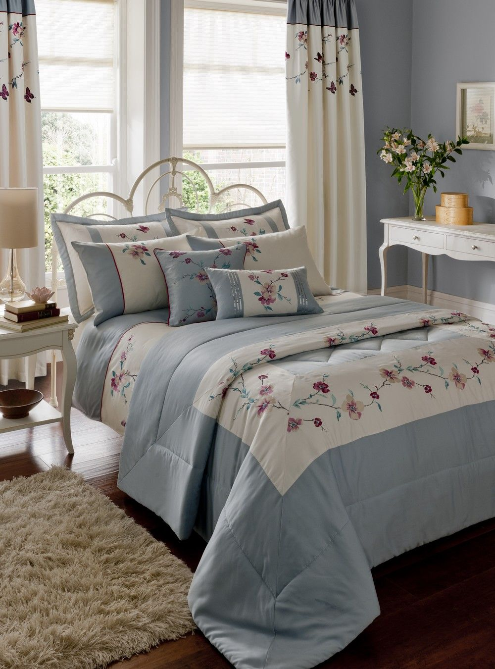 Details about Duck Egg Blue Cream Embroidered Duvet Cover ...