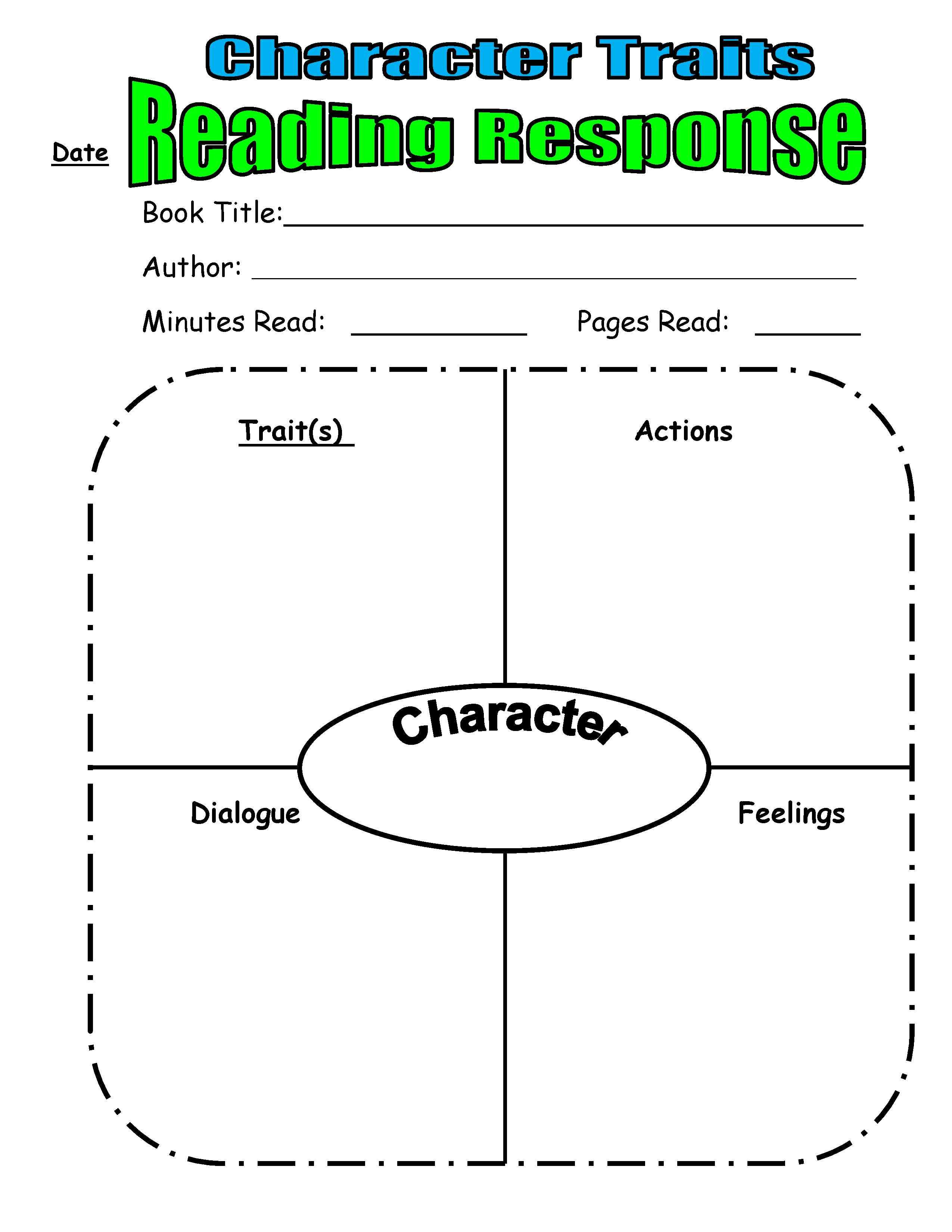 Worksheets Character Traits Worksheets character trait reading response from scholastic top teaching for teaching