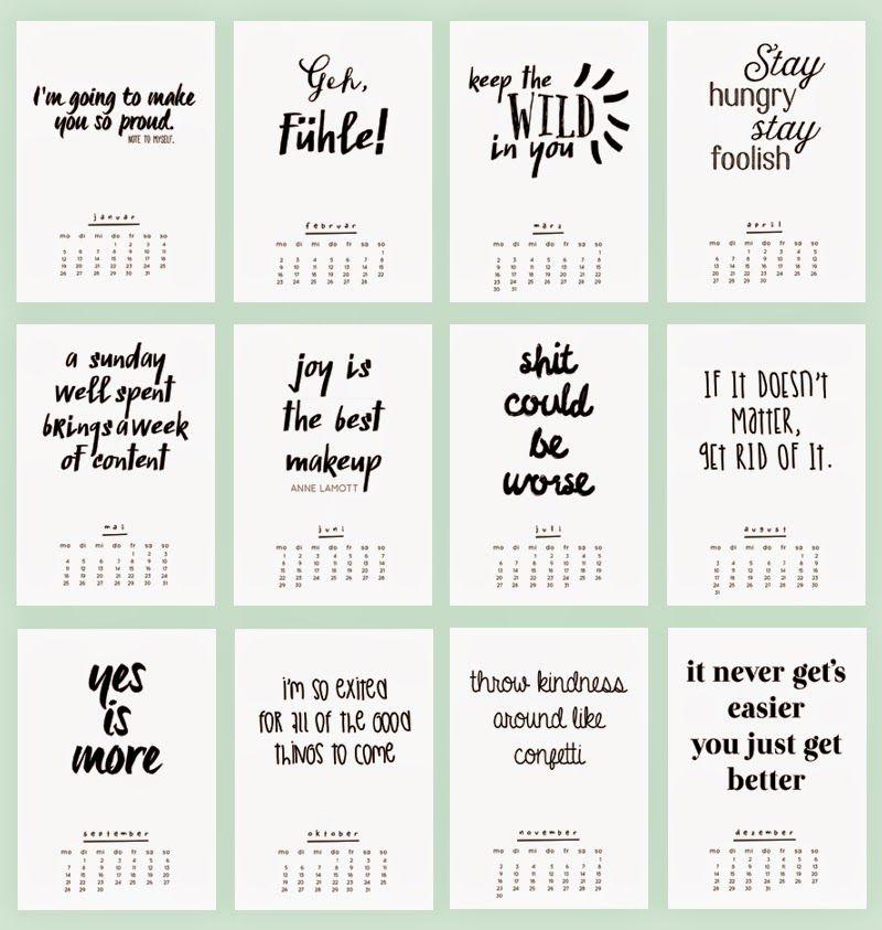 Ann Meer By Anna Maria Dahms Freebie Printable 2015 Kalender Handlettering Zitate Kalender Zum Ausdrucken Kalender Design