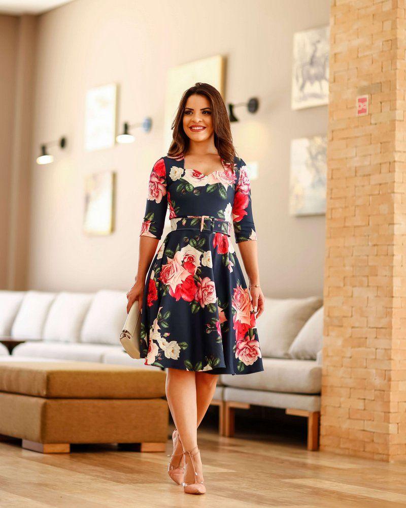 6707ed9814 Vestido Midi Paola Princesa Neoprene - Moda Evangélica - Flor de Amêndoa