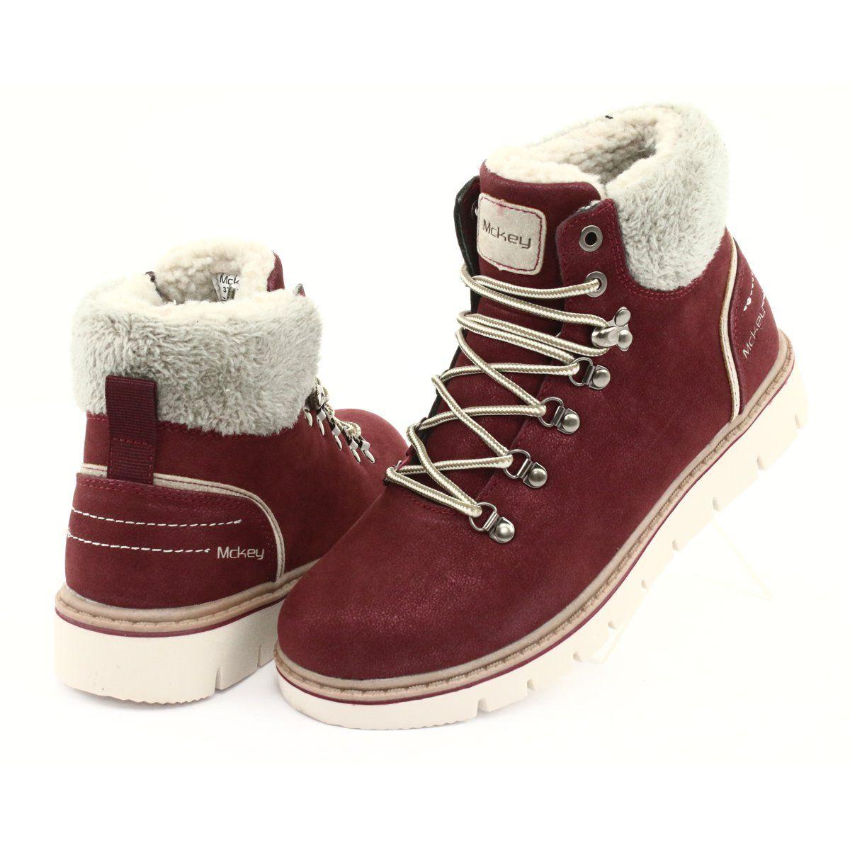 Trzewiki Zimowe Sznurowane Mckey 1072 Brazowe Wielokolorowe Szare Boots Red Shoes Brown Boots
