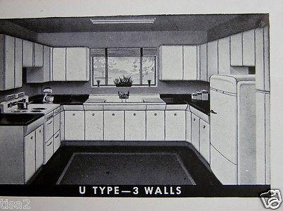 1948 American Kitchens Steel Wall Base Cabinets Retro Decor Vintage Avco Catalog