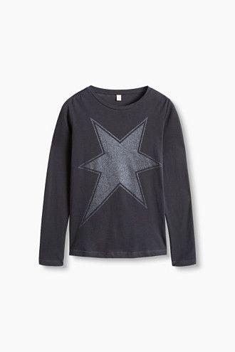 Esprit / Glitter print long sleeve top, 100% cotton