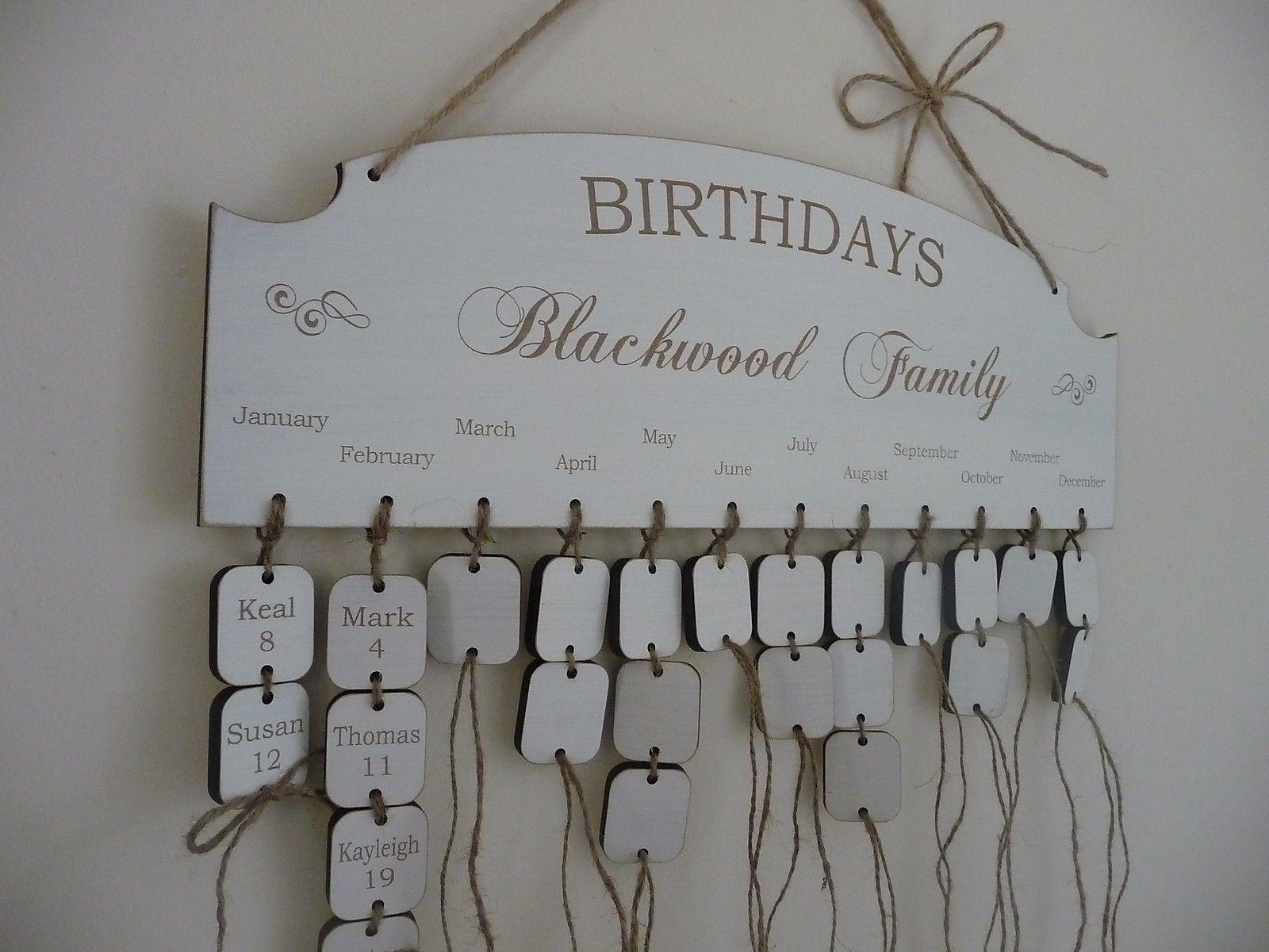 MY BIBY Family Friends Birthday Calendar Wood Wall Hanging DIY Wooden Reminder