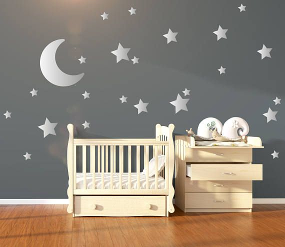 Large Moon 21 Silver Stars Nursery Wall Decals Nursery Wall Stickers Baby Wall Art Decals Vinyl Wallpaper Art Decor Confetti Nursery Wall Decals Nursery Wall Stickers Baby Wall Art
