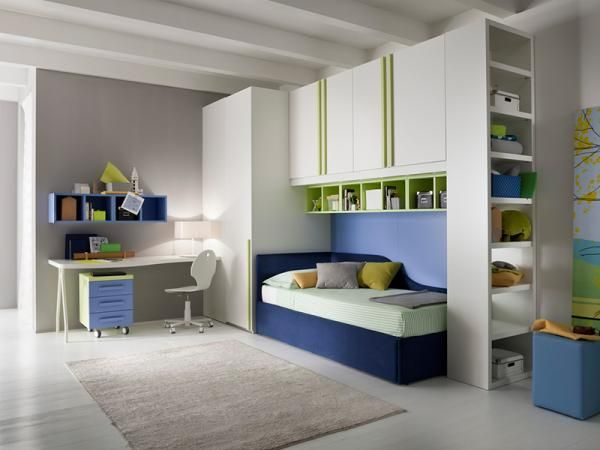 Modern Kids Bedroom Set With Desk Bed Wardrobe And Bookcase By