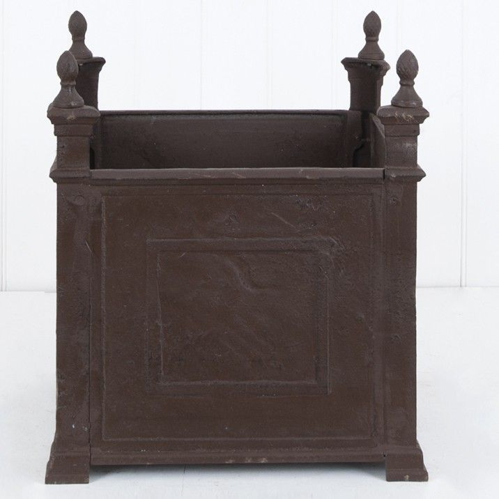 Avignon Square Planter - 56cm L x 56cm W x 64cm H - This bold square cast iron planter will create an impressive display both inside and out.  Available in two colours.
