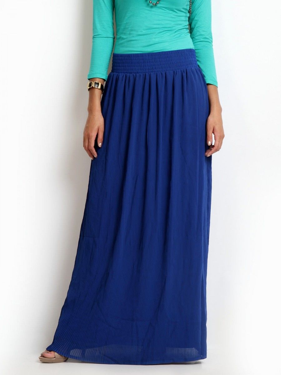JAG FOX PRODUCT DETAILSBlue pleated maxi skirt, elasticated and smocked waistband, attached liningMATERIAL