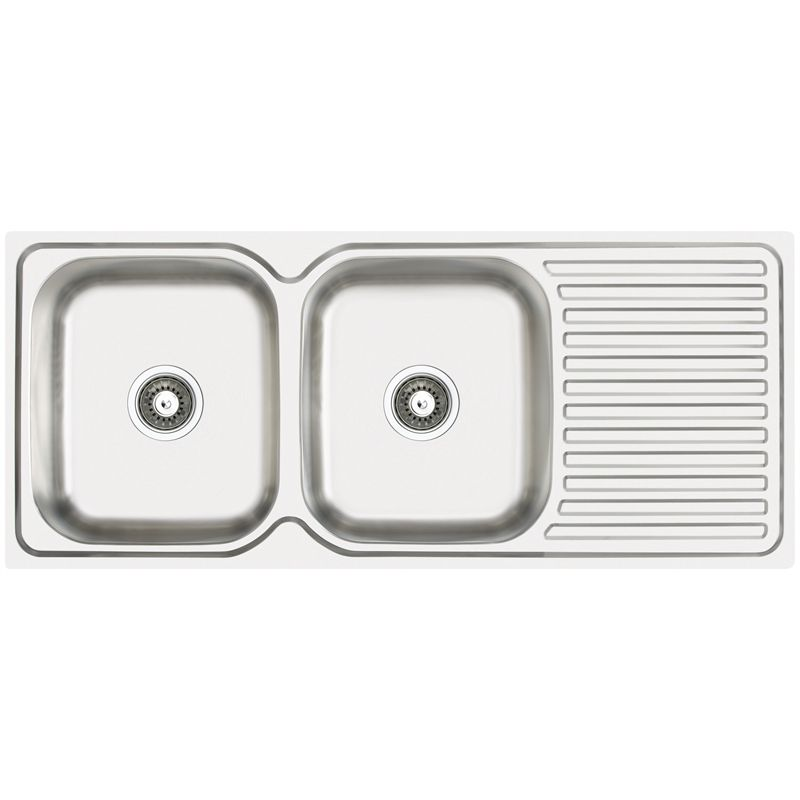 Abey Double Bowl Single Drainer Stainless Steel Sink LH - Bunnings ...