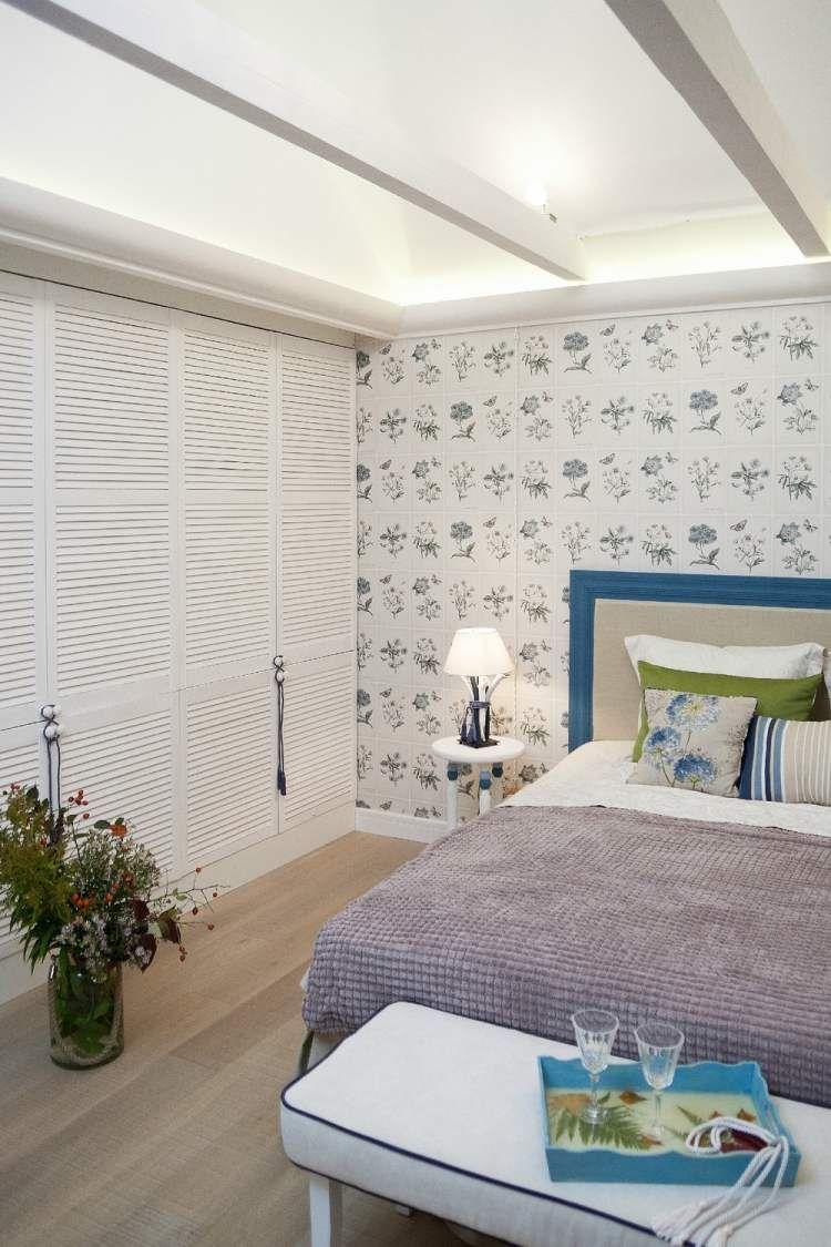 schlafzimmer im landhausstil wei blau und grn kombinieren - Schlafzimmer Blau Grun
