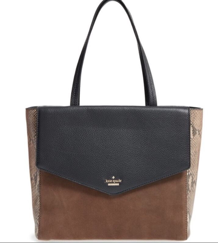 Kate Spade Spencer Court Archie Tote Black Brown Leather Suede Handbag Katespadenewyork Totespers