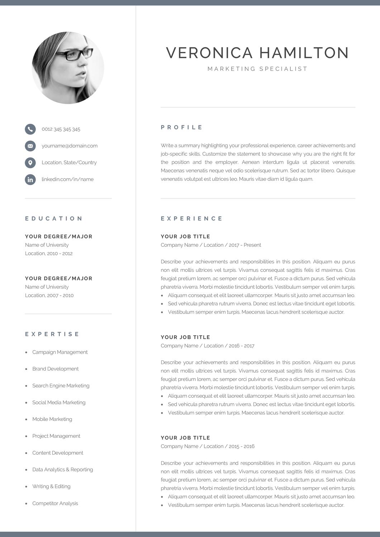 Professional Cv Template With Photo Modern Photo Resume Etsy Plantillas Curriculum Modelos De Curriculum Vitae Curriculum Vitae