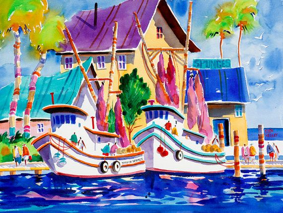 Tropical Beach Art Matted Tarpon Springs Florida Watercolor