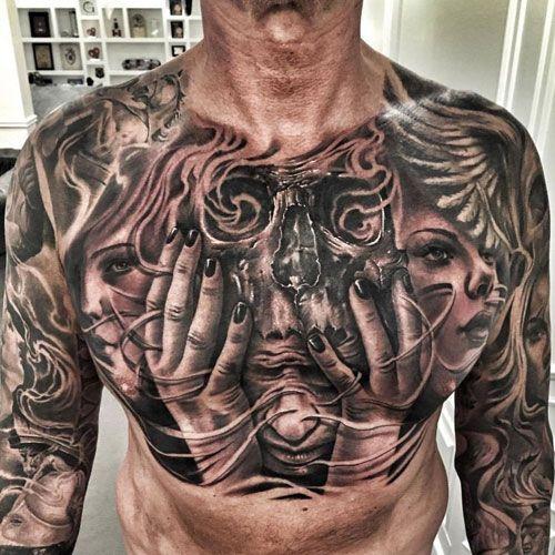 125 Best Skull Tattoos For Men Cool Designs Ideas 2020 Guide Chest Tattoo Men Chest Tattoo Drawings Skull Tattoos