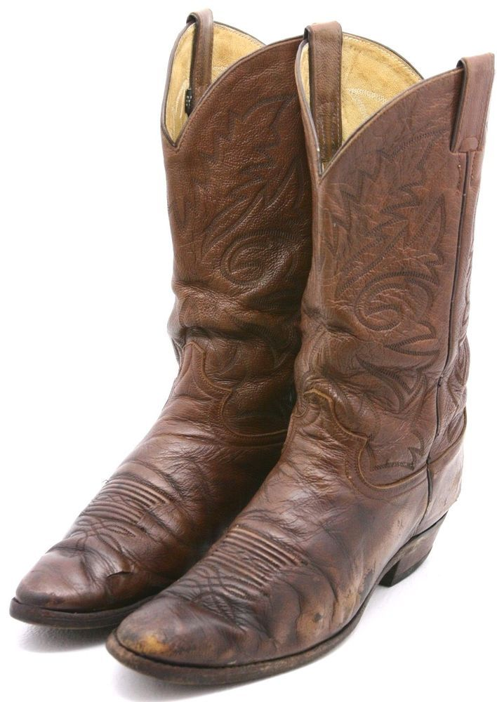 Justin Mens Cowboy Boots Size 12 D Brown Leather Western Vintage