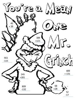 How Grinch Stole Christmas Math Page Grinch Coloring Pages Christmas Coloring Pages Free Christmas Coloring Pages
