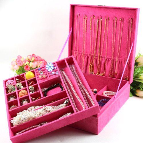 KLOUD City Hot Pink twolayer lint jewelry box organizer display