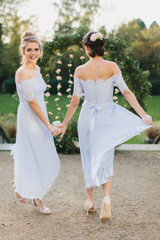 Aline offtheshoulder light blue pleated chiffon bridesmaid dress