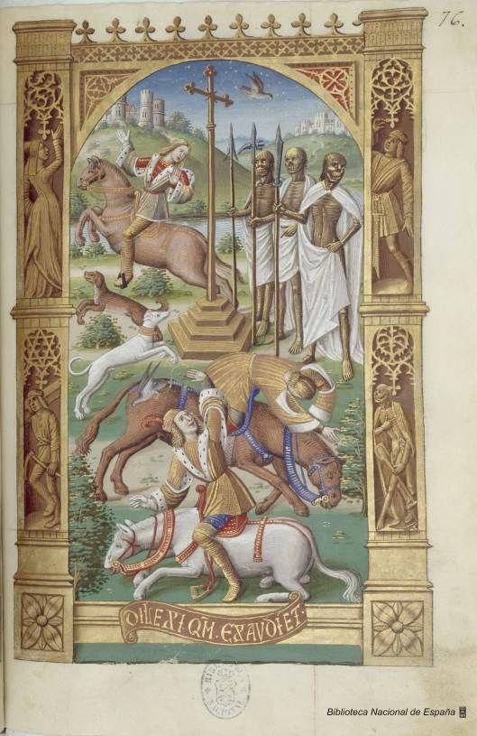 El encuentro de los tres vivos y los tres muertos en el Libro de Horas del rey Carlos VIII