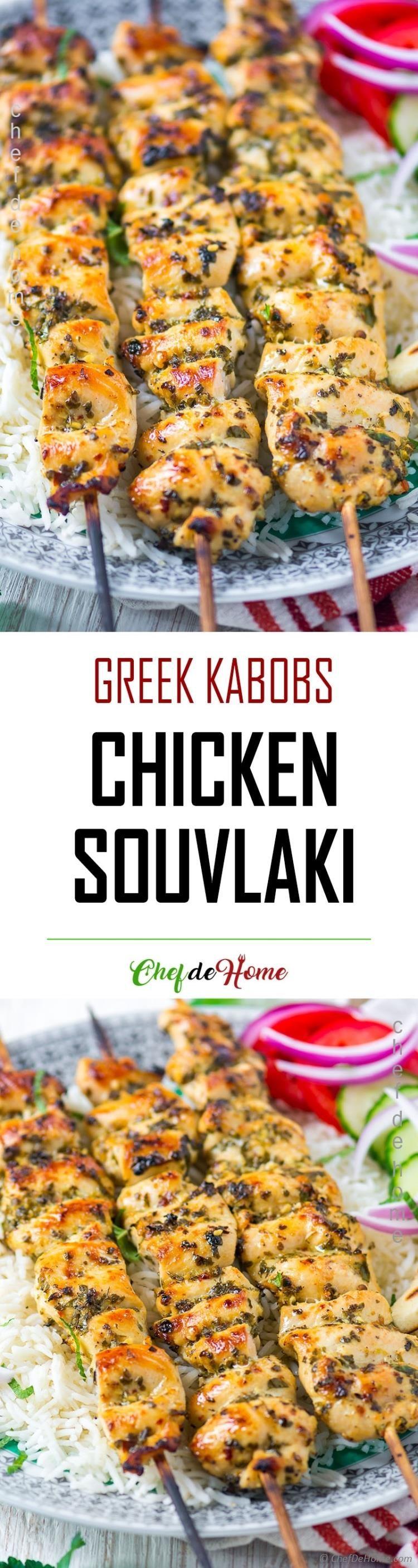 Chicken Souvlaki Kabobs recipe with rice and pita (Baking Chicken Healthy)