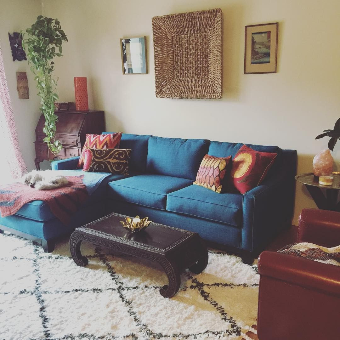 My Living Room Keegan Sofa In Peacock From Macys Marrakesh Shag Rug RugsUSA