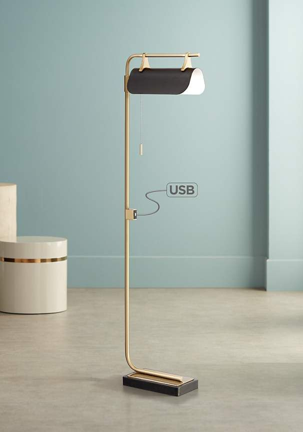 Nessa Brass Mid Century Modern Led Floor Lamp With Usb Port 15f48