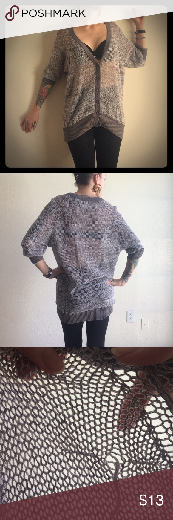 Sheer Knit Grunge Cardigan Several pulls & runs, 3/4 push up sleeves. Frenchi Sweaters Cardigans