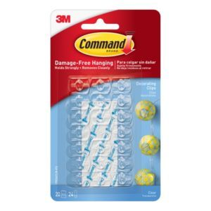 3M Command Plastic Hooks & Fittings Pack Of 20 in 2020   Light clips, Hanging christmas lights ...
