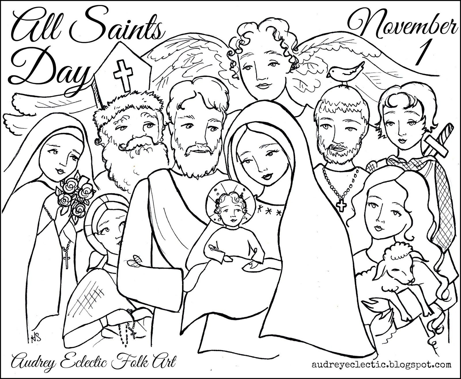 Printables All Saints Day Saint Coloring Catholic Coloring