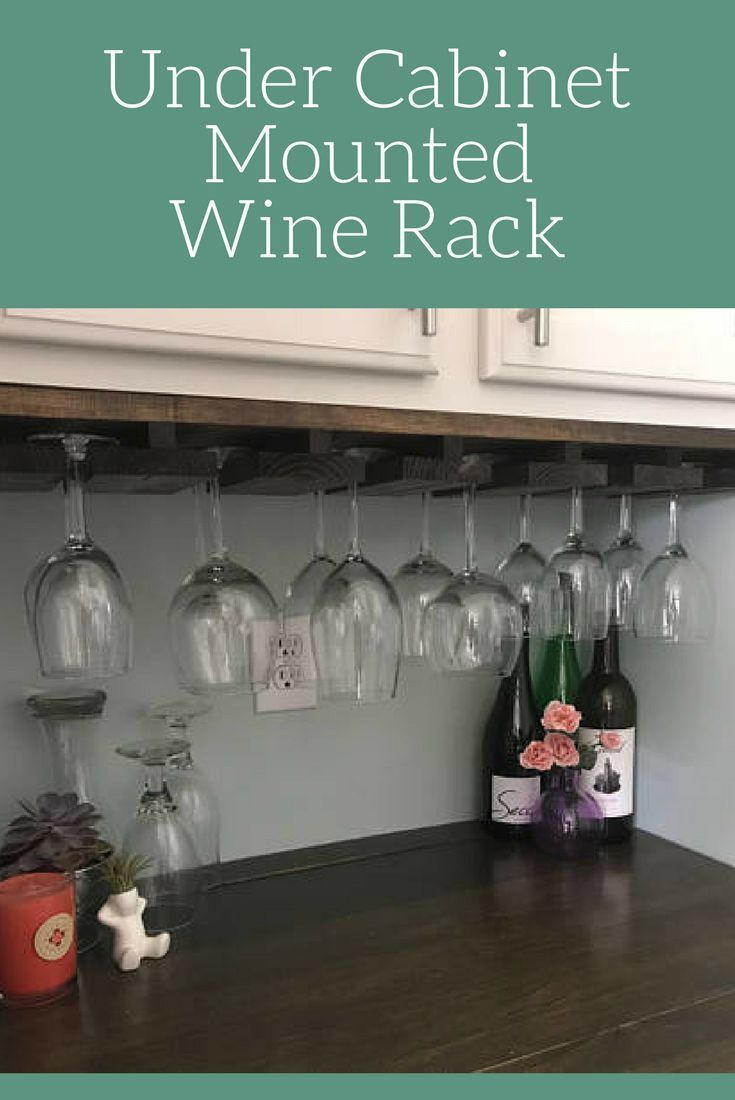 Under Cabinet Mounted Rustic Wood Wine Rack Decor Kitchen Dining Room Gl Storage Farmhouse Hanging Stemware Holder