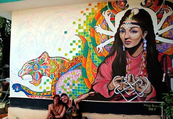 Recent mural finished for The Dream Catcher's Hostel.  Dreams are realities waiting to manifest.... Go check it out if your in Keri, North Goa.  This is my last mural in Goa before heading up to Rajasthan to paint soul sista Natasha's new hostel Raahi :D  Muchos Amor!! <3 <3  #visionary #art #painting #mural #goa #india #tibet #sacred #geometry #thangka #contemporary #acrylic #portrait #wall #psychedelic #knot #travels