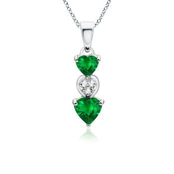 Angara Emerald Cross Necklace in Platinum, Prong Setting